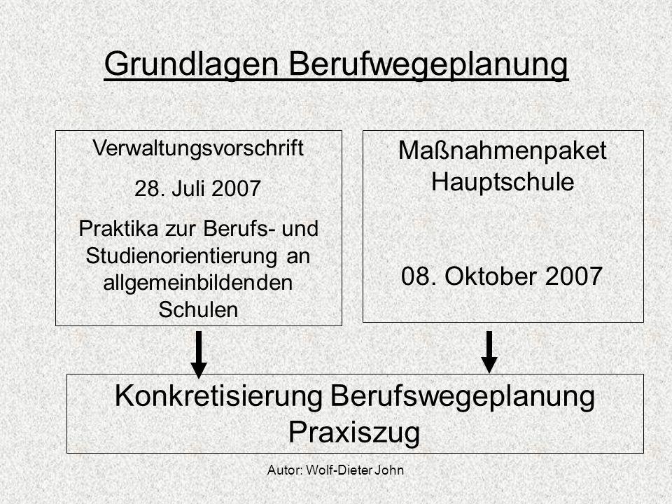 Autor: Wolf-Dieter John Grundlagen Berufwegeplanung Verwaltungsvorschrift 28. Juli 2007 Praktika zur Berufs- und Studienorientierung an allgemeinbilde