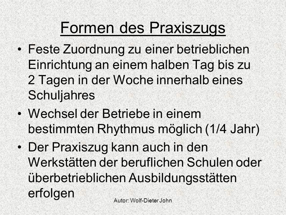 Autor: Wolf-Dieter John Formen des Praxiszugs Feste Zuordnung zu einer betrieblichen Einrichtung an einem halben Tag bis zu 2 Tagen in der Woche inner