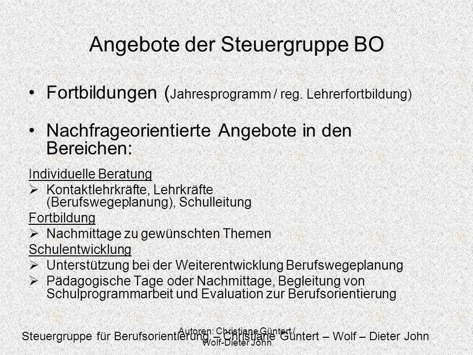 Autoren: Christiane Güntert / Wolf-Dieter John Angebote der Steuergruppe BO Fortbildungen ( Jahresprogramm / reg. Lehrerfortbildung) Nachfrageorientie