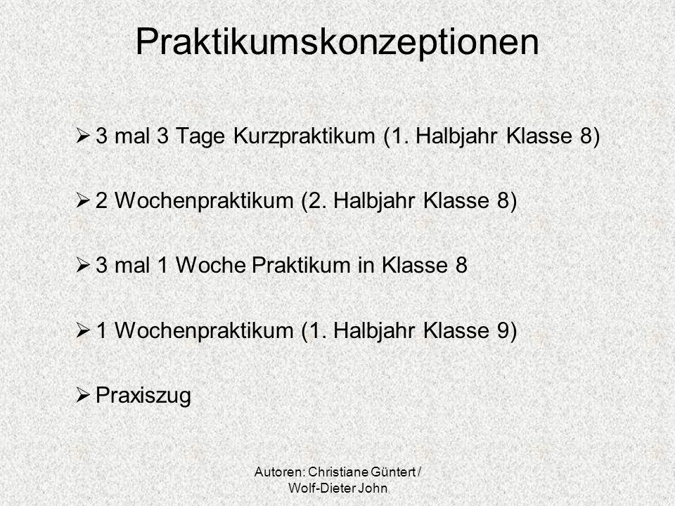 Autoren: Christiane Güntert / Wolf-Dieter John Praktikumskonzeptionen 3 mal 3 Tage Kurzpraktikum (1. Halbjahr Klasse 8) 2 Wochenpraktikum (2. Halbjahr