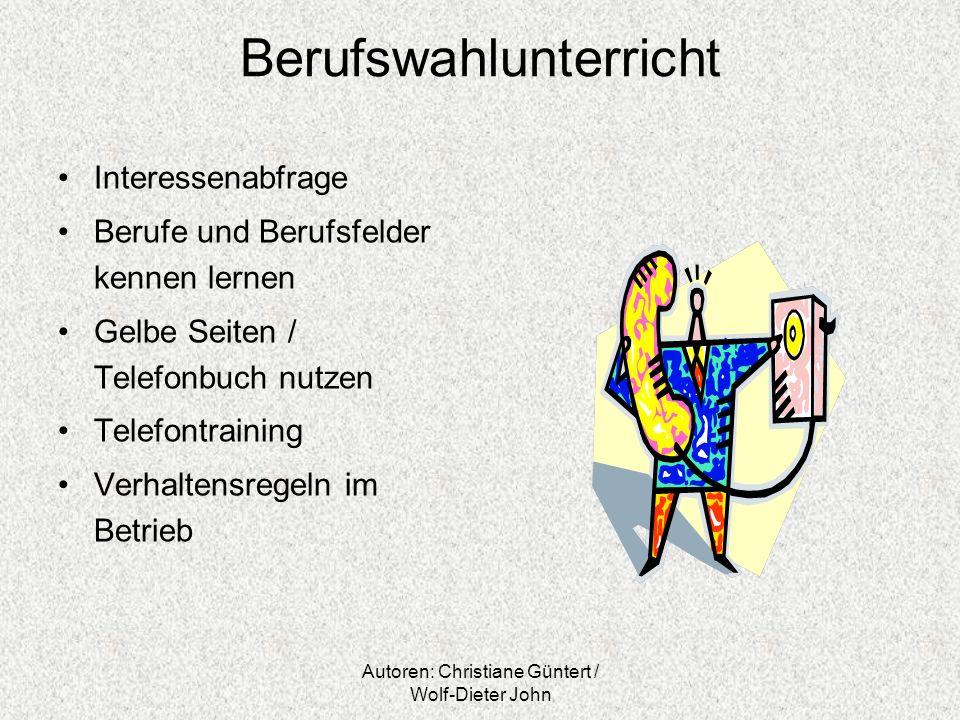 Autoren: Christiane Güntert / Wolf-Dieter John Berufswahlunterricht Interessenabfrage Berufe und Berufsfelder kennen lernen Gelbe Seiten / Telefonbuch
