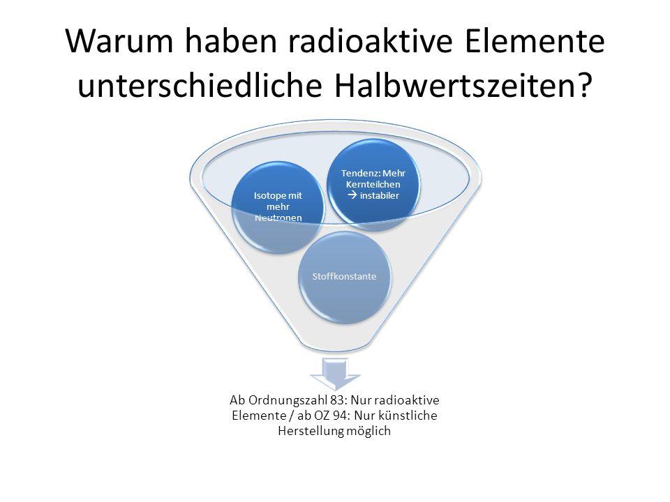 Warum haben radioaktive Elemente unterschiedliche Halbwertszeiten.