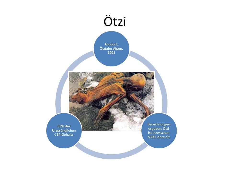 Ötzi Fundort: Ötztaler Alpen, 1991 Berechnungen ergaben: Ötzi ist inzwischen 5300 Jahre alt 53% des Ursprünglichen C14-Gehalts