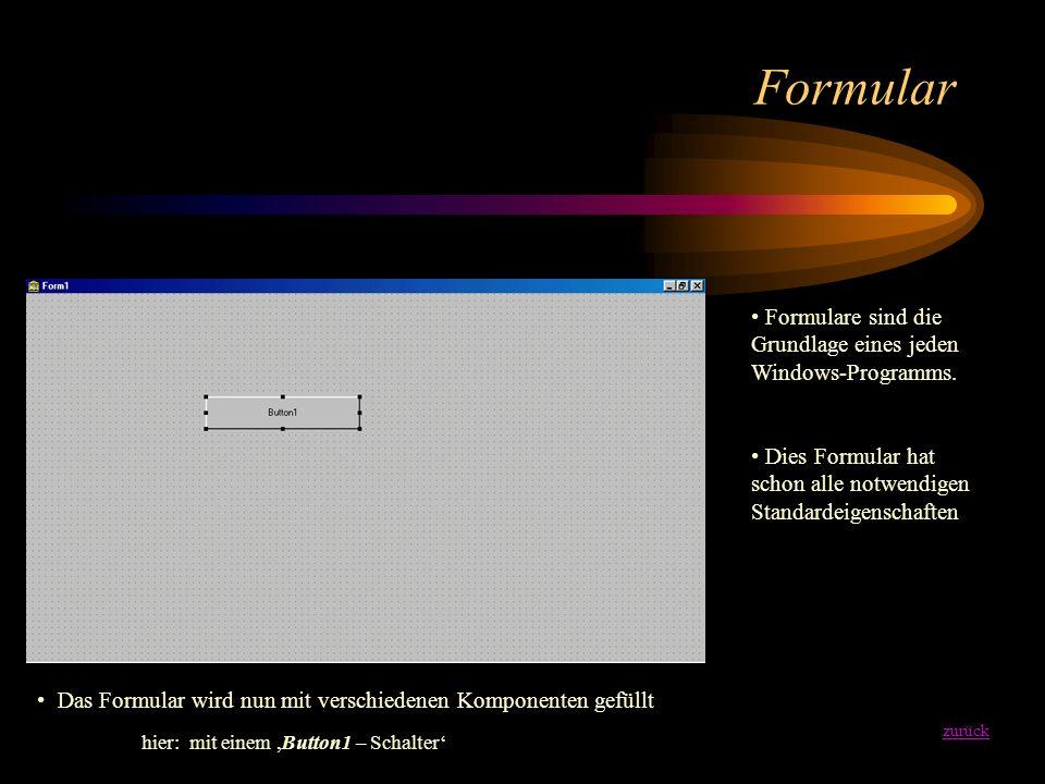 Formular zurück Formulare sind die Grundlage eines jeden Windows-Programms.