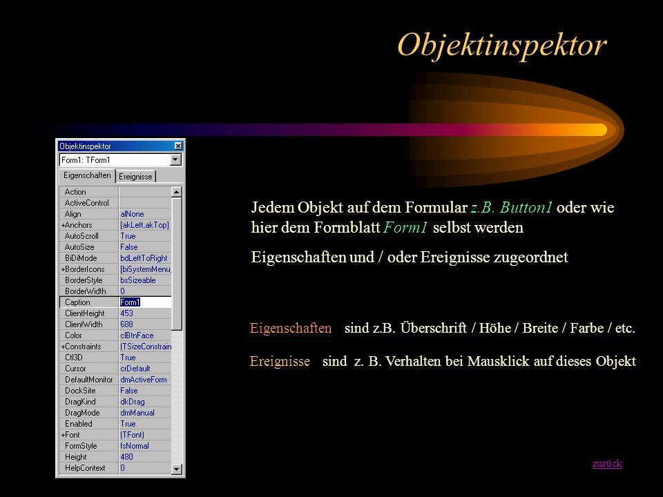 Formular zurück Formulare sind die Grundlage eines jeden Windows-Programms. Dies Formular hat schon alle notwendigen Standardeigenschaften Das Formula