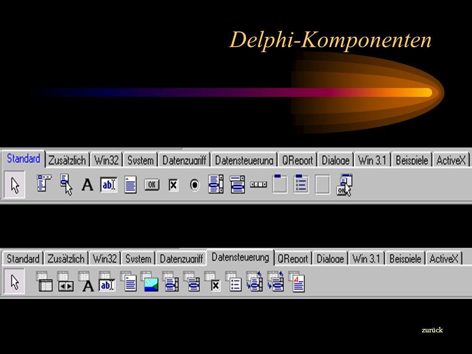 Objektinspektor zurück Jedem Objekt auf dem Formular z.B. Button1 oder wie hier dem Formblatt Form1 selbst werden Eigenschaften und / oder Ereignisse