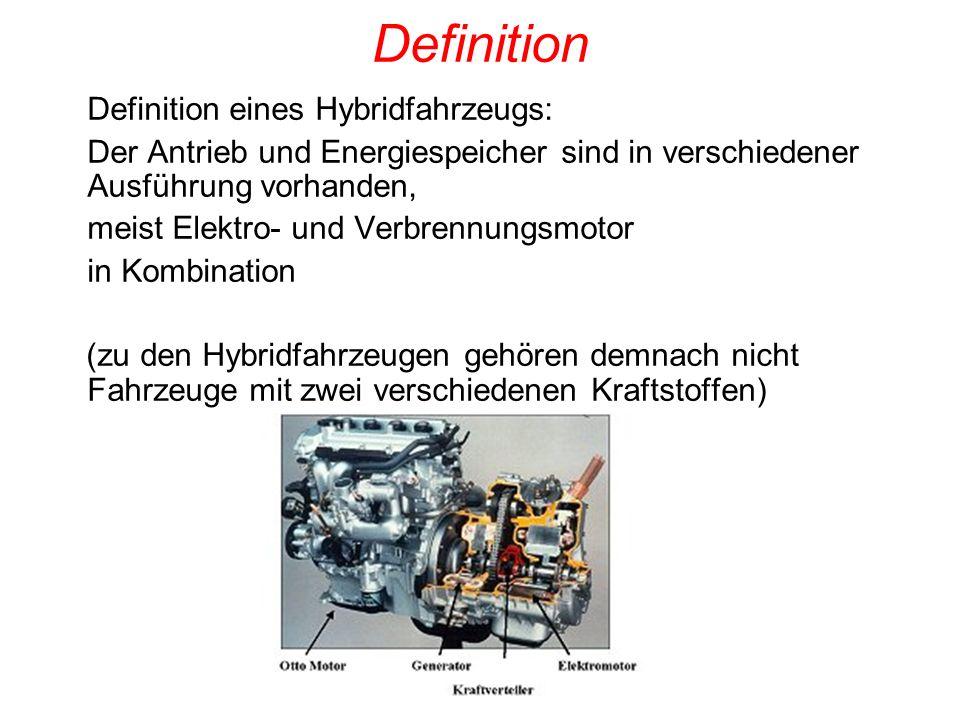 Definition Definition eines Hybridfahrzeugs: Der Antrieb und Energiespeicher sind in verschiedener Ausführung vorhanden, meist Elektro- und Verbrennun