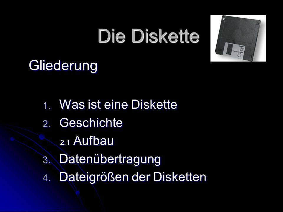 Die Diskette Gliederung 1. W as ist eine Diskette 2. G eschichte 2.1 Aufbau 3. D atenübertragung 4. D ateigrößen der Disketten