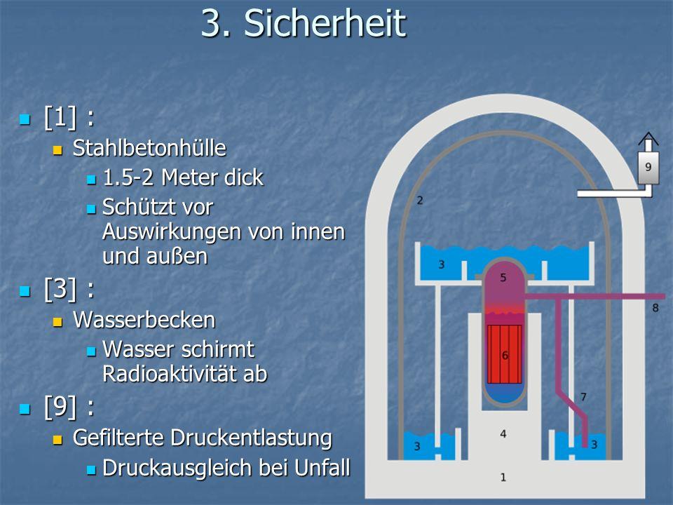 3. Sicherheit [1] : [1] : Stahlbetonhülle Stahlbetonhülle 1.5-2 Meter dick 1.5-2 Meter dick Schützt vor Auswirkungen von innen und außen Schützt vor A