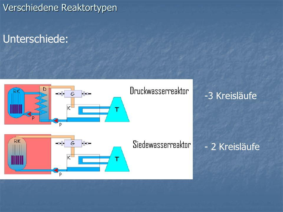 Verschiedene Reaktortypen Unterschiede: -3 Kreisläufe - 2 Kreisläufe