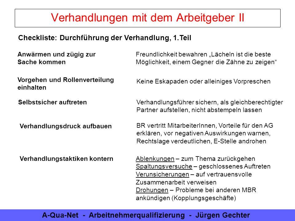 A-Qua-Net - Arbeitnehmerqualifizierung - Jürgen Gechter Verhandlungen mit dem Arbeitgeber II Checkliste: Durchführung der Verhandlung, 1.Teil Anwärmen