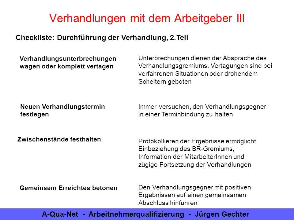A-Qua-Net - Arbeitnehmerqualifizierung - Jürgen Gechter Checkliste: Durchführung der Verhandlung, 2.Teil Verhandlungen mit dem Arbeitgeber III Verhand