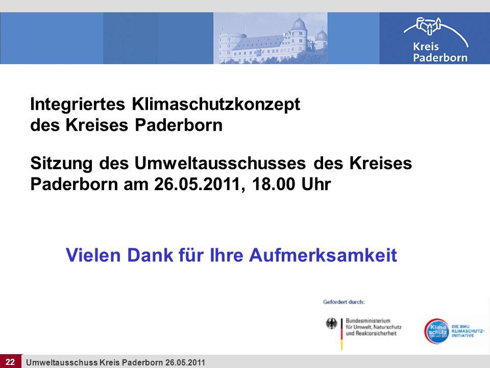 22 Umweltausschuss Kreis Paderborn 26.05.2011 22 Integriertes Klimaschutzkonzept des Kreises Paderborn Sitzung des Umweltausschusses des Kreises Pader