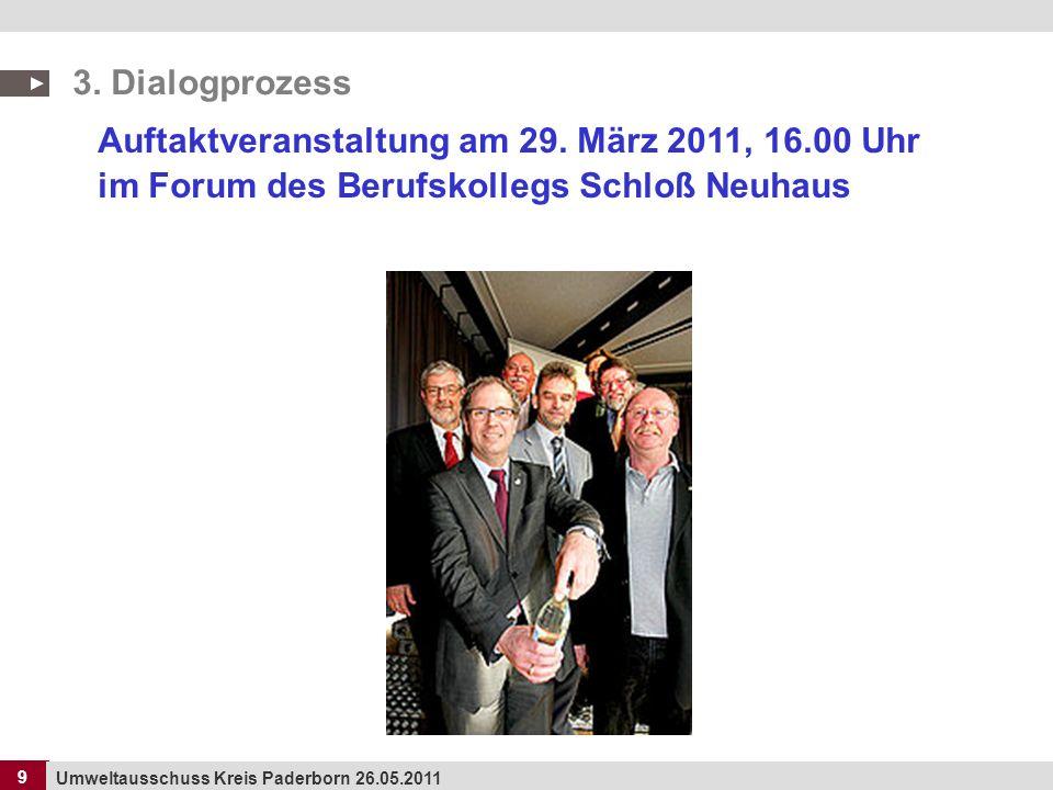9 Umweltausschuss Kreis Paderborn 26.05.2011 9 Auftaktveranstaltung am 29. März 2011, 16.00 Uhr im Forum des Berufskollegs Schloß Neuhaus 3. Dialogpro