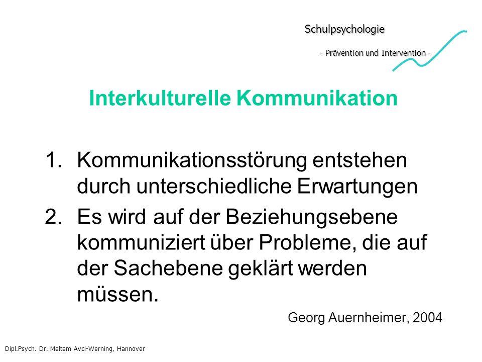 Schulpsychologie - Prävention und Intervention - Schulpsychologie - Prävention und Intervention - Interkulturelle Kommunikation 1.Kommunikationsstörun