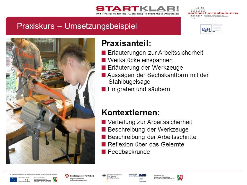 11 Praxisanteil: Erläuterungen zur Arbeitssicherheit Werkstücke einspannen Erläuterung der Werkzeuge Aussägen der Sechskantform mit der Stahlbügelsäge