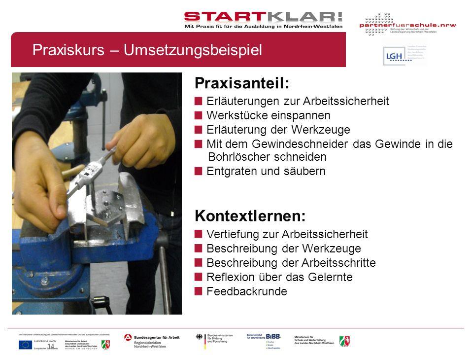 14 Praxisanteil: Erläuterungen zur Arbeitssicherheit Werkstücke einspannen Erläuterung der Werkzeuge Mit dem Gewindeschneider das Gewinde in die Bohrl