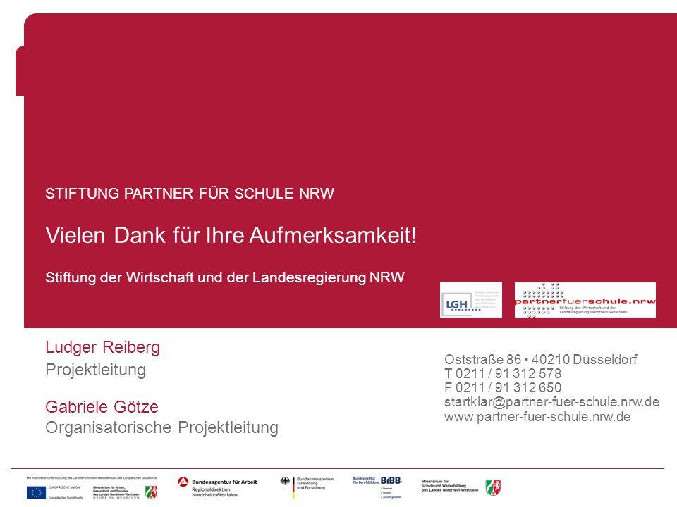 Fragen Stiftung der Wirtschaft und der Landesregierung NRW STIFTUNG PARTNER FÜR SCHULE NRW Vielen Dank für Ihre Aufmerksamkeit! Ludger Reiberg Projekt