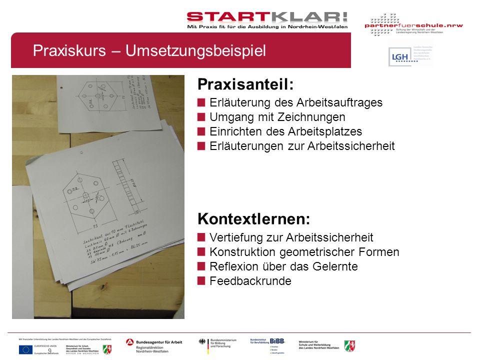 9 Praxisanteil: Erläuterung des Arbeitsauftrages Umgang mit Zeichnungen Einrichten des Arbeitsplatzes Erläuterungen zur Arbeitssicherheit Praxiskurs –