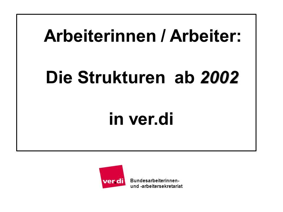 2002 Arbeiterinnen / Arbeiter: Die Strukturen ab 2002 in ver.di Bundesarbeiterinnen- und -arbeitersekretariat