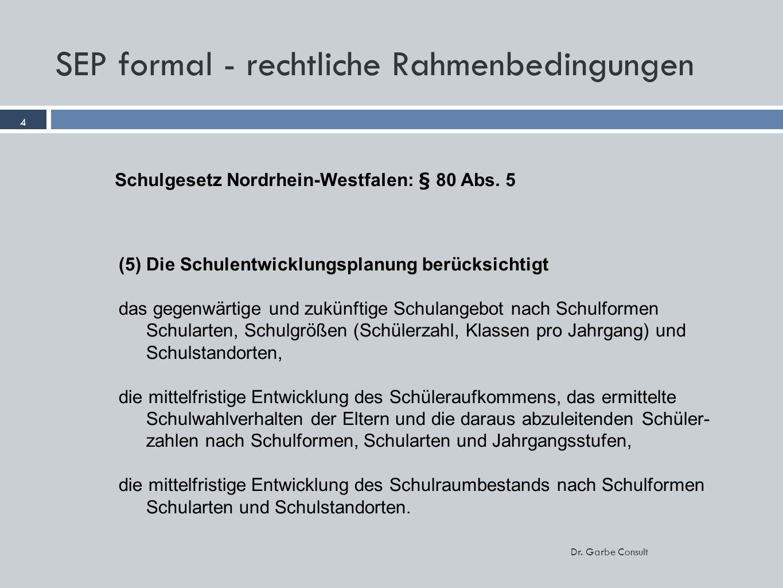 4 Dr. Garbe Consult SEP formal - rechtliche Rahmenbedingungen 4 (5) Die Schulentwicklungsplanung berücksichtigt das gegenwärtige und zukünftige Schula