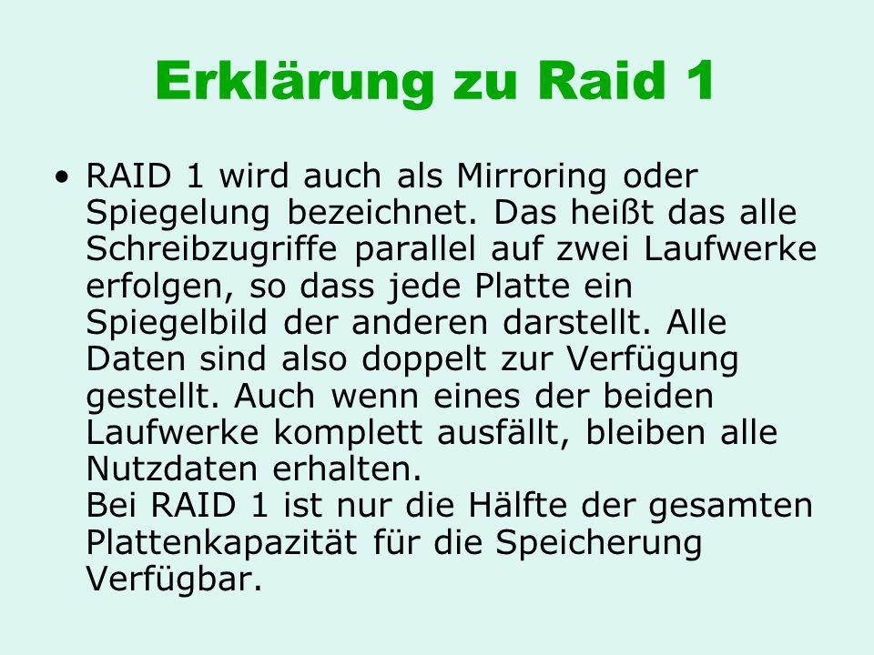 Erklärung zu Raid 1 RAID 1 wird auch als Mirroring oder Spiegelung bezeichnet. Das heißt das alle Schreibzugriffe parallel auf zwei Laufwerke erfolgen