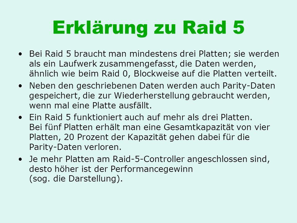 Erklärung zu Raid 5 Bei Raid 5 braucht man mindestens drei Platten; sie werden als ein Laufwerk zusammengefasst, die Daten werden, ähnlich wie beim Ra