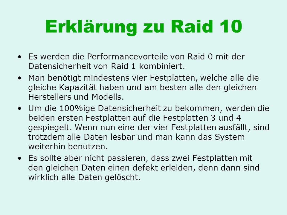 Erklärung zu Raid 10 Es werden die Performancevorteile von Raid 0 mit der Datensicherheit von Raid 1 kombiniert. Man benötigt mindestens vier Festplat