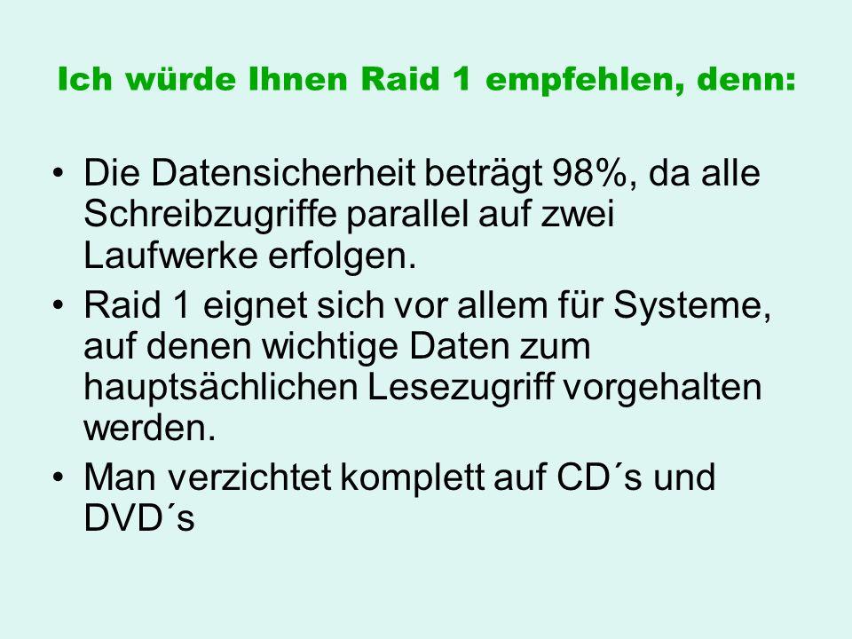 Ich würde Ihnen Raid 1 empfehlen, denn: Die Datensicherheit beträgt 98%, da alle Schreibzugriffe parallel auf zwei Laufwerke erfolgen. Raid 1 eignet s