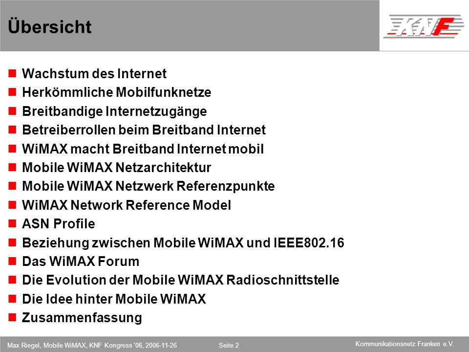 11,602,207,002,40 11,60 5,60 1,00 1,20 7,80 Kommunikationsnetz Franken e.V. Max Riegel, Mobile WiMAX, KNF Kongress '06, 2006-11-26Seite 2 Übersicht Wa