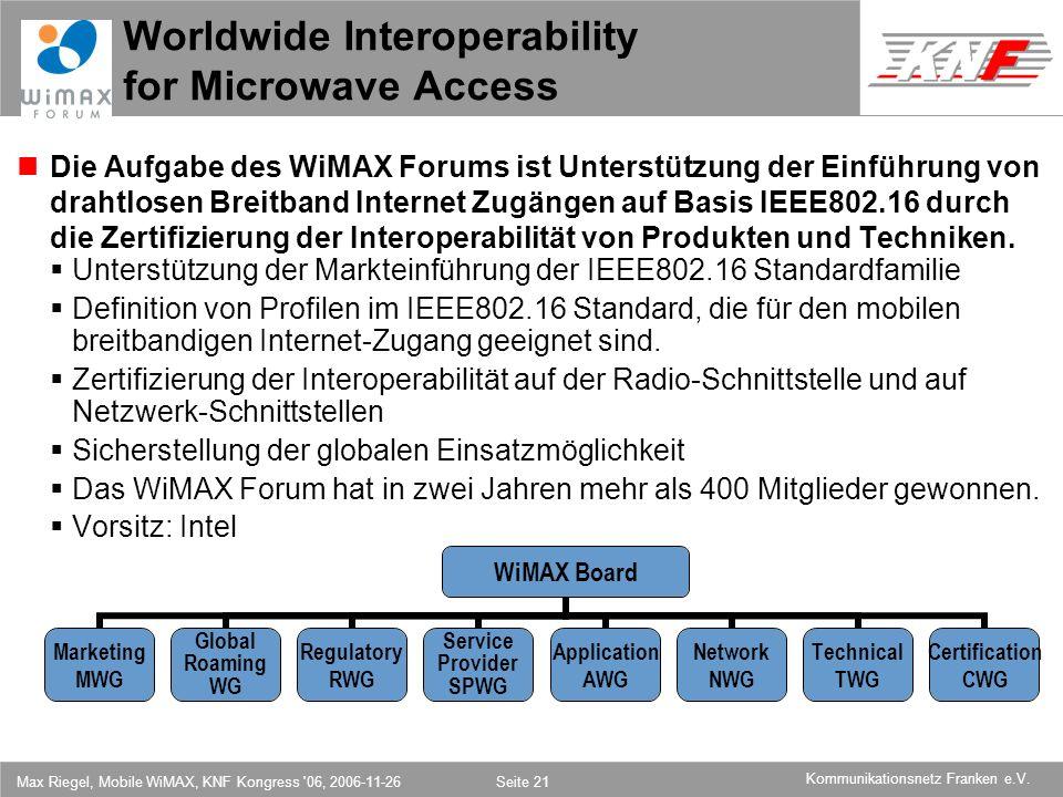 11,602,207,002,40 11,60 5,60 1,00 1,20 7,80 Kommunikationsnetz Franken e.V. Max Riegel, Mobile WiMAX, KNF Kongress '06, 2006-11-26Seite 21 Worldwide I