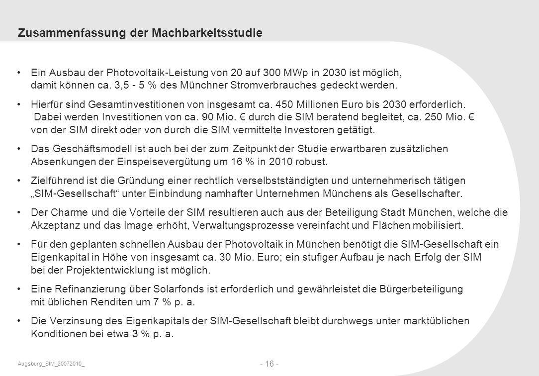 Augsburg_SIM_20072010_ - 16 - Zusammenfassung der Machbarkeitsstudie Ein Ausbau der Photovoltaik-Leistung von 20 auf 300 MWp in 2030 ist möglich, dami