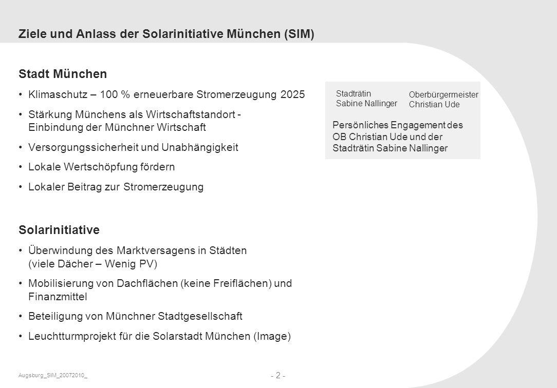 Augsburg_SIM_20072010_ - 2 - Ziele und Anlass der Solarinitiative München (SIM) Stadt München Klimaschutz – 100 % erneuerbare Stromerzeugung 2025 Stär