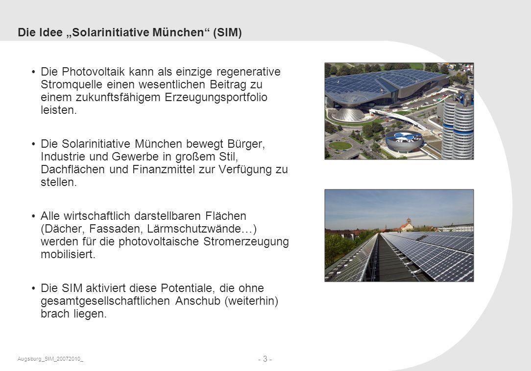 Augsburg_SIM_20072010_ - 3 - Die Idee Solarinitiative München (SIM) Die Photovoltaik kann als einzige regenerative Stromquelle einen wesentlichen Beit