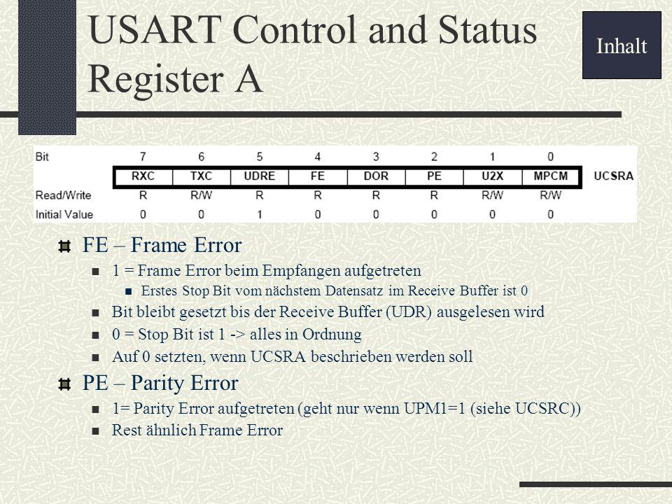 USART Control and Status Register A FE – Frame Error 1 = Frame Error beim Empfangen aufgetreten Erstes Stop Bit vom nächstem Datensatz im Receive Buff