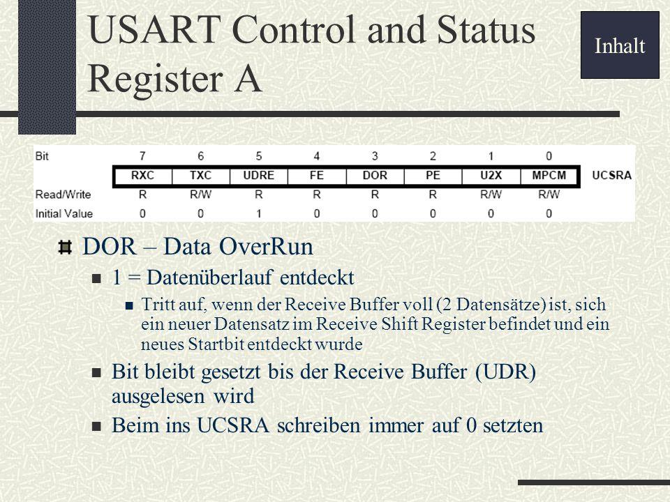 USART Control and Status Register A DOR – Data OverRun 1 = Datenüberlauf entdeckt Tritt auf, wenn der Receive Buffer voll (2 Datensätze) ist, sich ein