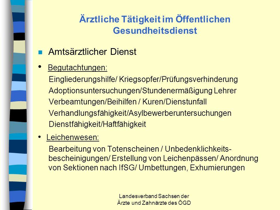 Landesverband Sachsen der Ärzte und Zahnärzte des ÖGD Ärztliche Tätigkeit im Öffentlichen Gesundheitsdienst n Amtsärztlicher Dienst Begutachtungen: Ei