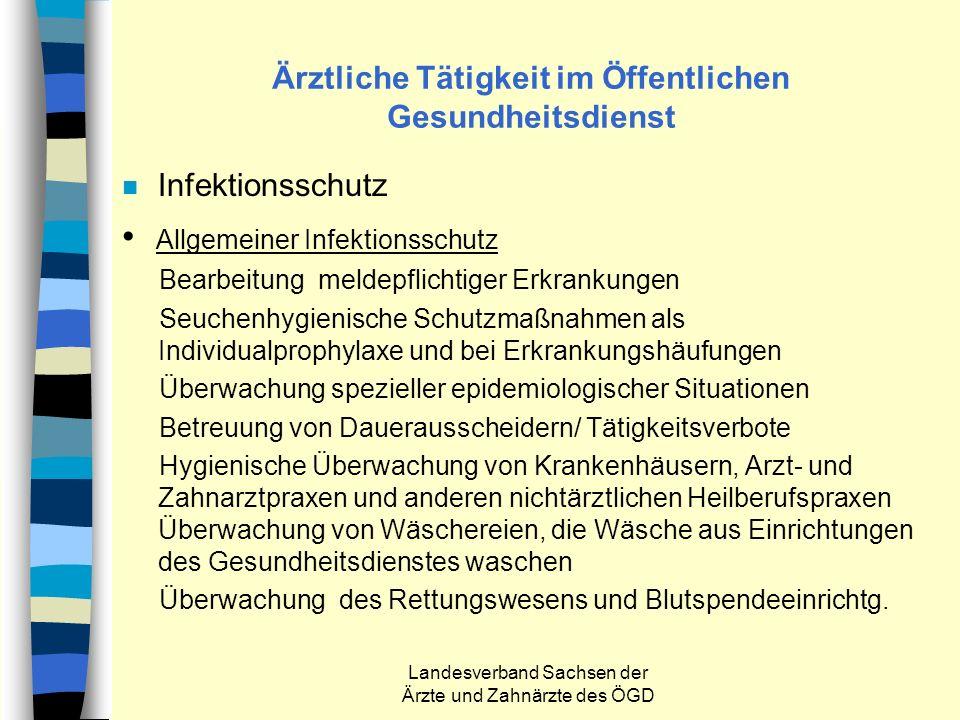 Landesverband Sachsen der Ärzte und Zahnärzte des ÖGD Ärztliche Tätigkeit im Öffentlichen Gesundheitsdienst n Infektionsschutz Allgemeiner Infektionss