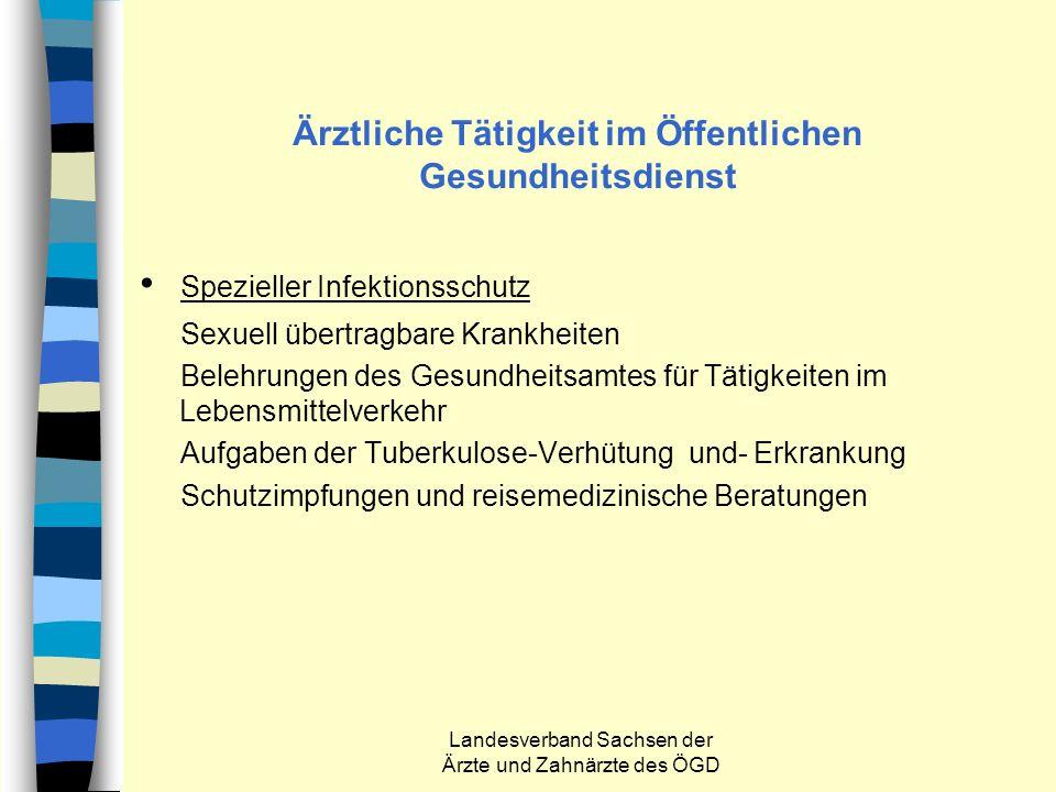Landesverband Sachsen der Ärzte und Zahnärzte des ÖGD Ärztliche Tätigkeit im Öffentlichen Gesundheitsdienst Spezieller Infektionsschutz Sexuell übertr