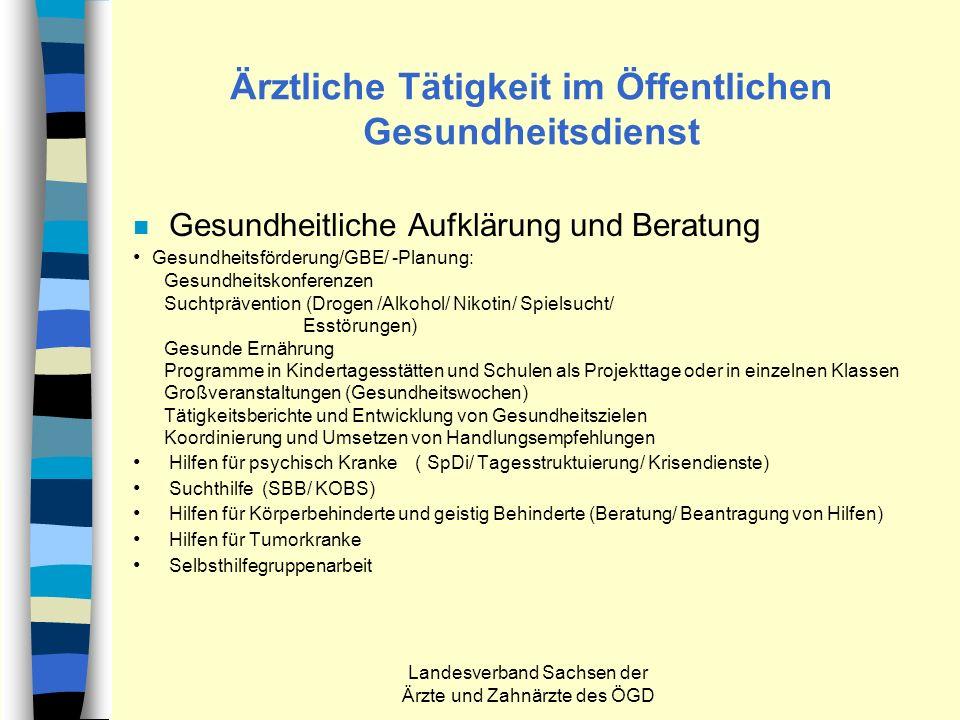 Landesverband Sachsen der Ärzte und Zahnärzte des ÖGD Ärztliche Tätigkeit im Öffentlichen Gesundheitsdienst n Gesundheitliche Aufklärung und Beratung