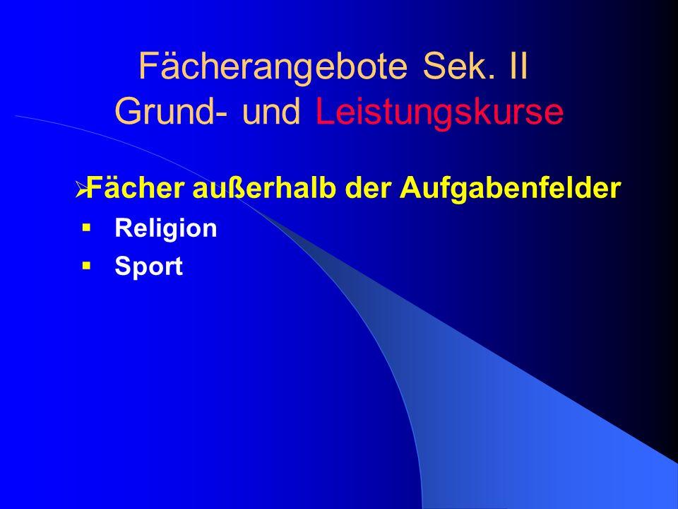 Fächer außerhalb der Aufgabenfelder Religion Sport Fächerangebote Sek. II Grund- und Leistungskurse