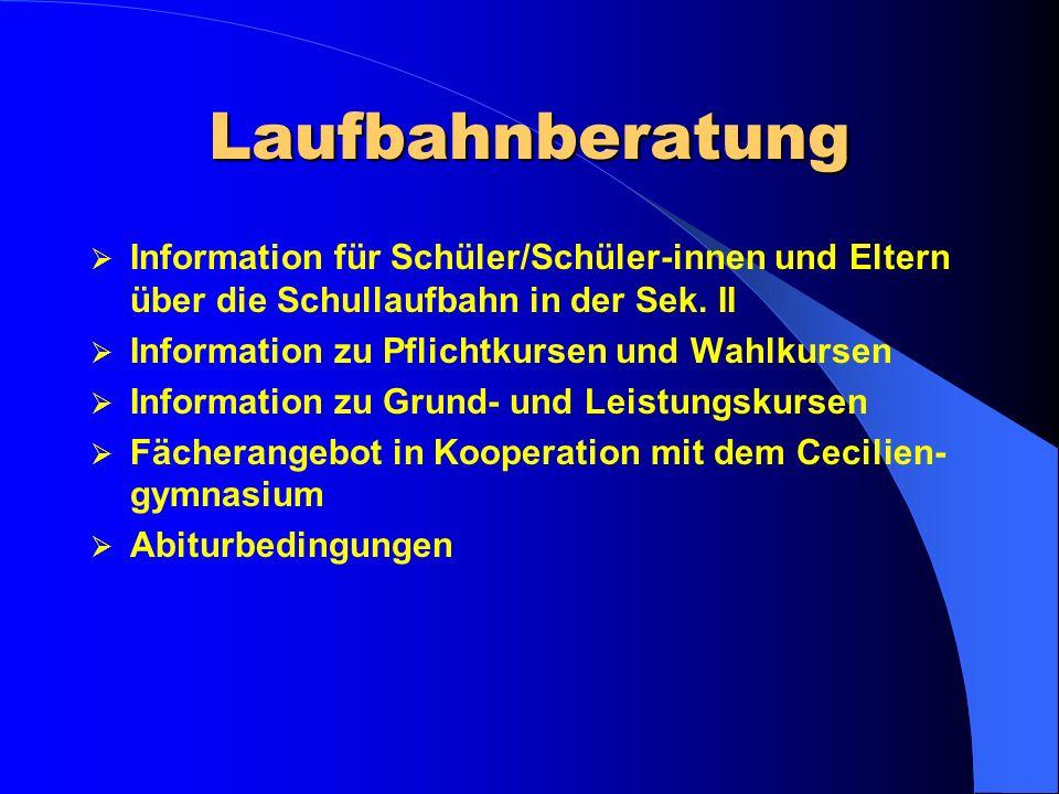 Laufbahnberatung Information für Schüler/Schüler-innen und Eltern über die Schullaufbahn in der Sek.