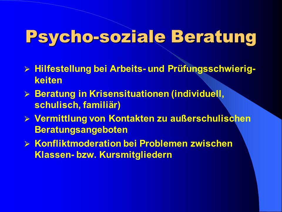 Beratungskonzept – Sekundarstufe II Studien- und Berufs- beratung Laufbahn- beratung Psycho- soziale Beratung Drei Säulen unter einem Dach