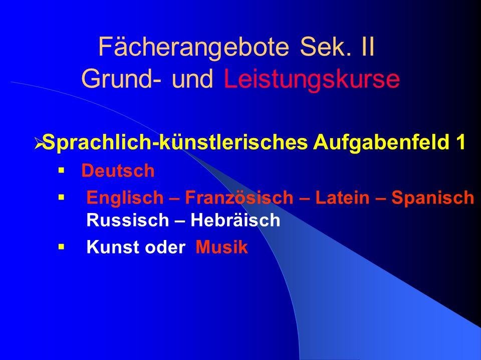 Sprachlich-künstlerisches Aufgabenfeld 1 Deutsch Englisch – Französisch – Latein – Spanisch Russisch – Hebräisch Kunst oder Musik Fächerangebote Sek.