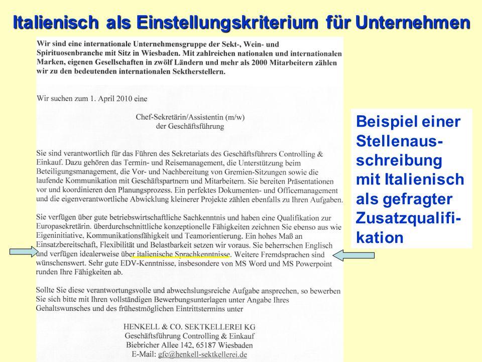 Italienisch als Einstellungskriterium für Unternehmen Beispiel einer Stellenaus- schreibung mit Italienisch als gefragter Zusatzqualifi- kation