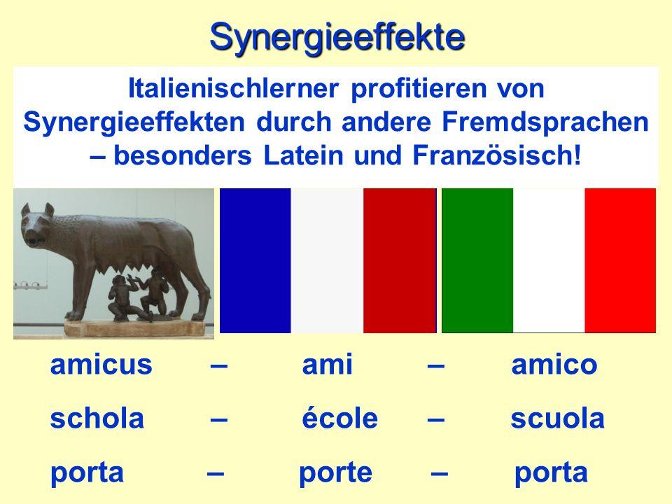 Synergieeffekte amicus – ami – amico schola – école – scuola porta – porte – porta Italienischlerner profitieren von Synergieeffekten durch andere Fre