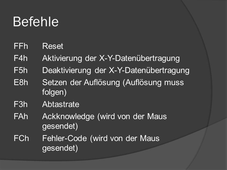 Befehle FFhReset F4hAktivierung der X-Y-Datenübertragung F5hDeaktivierung der X-Y-Datenübertragung E8hSetzen der Auflösung (Auflösung muss folgen) F3hAbtastrate FAhAckknowledge (wird von der Maus gesendet) FChFehler-Code (wird von der Maus gesendet)