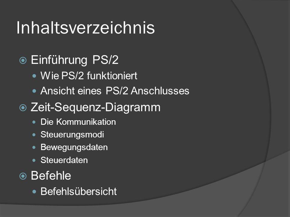 Inhaltsverzeichnis Einführung PS/2 Wie PS/2 funktioniert Ansicht eines PS/2 Anschlusses Zeit-Sequenz-Diagramm Die Kommunikation Steuerungsmodi Bewegungsdaten Steuerdaten Befehle Befehlsübersicht