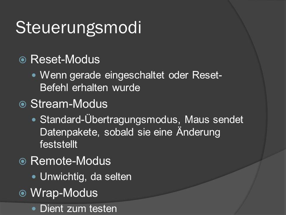 Steuerungsmodi Reset-Modus Wenn gerade eingeschaltet oder Reset- Befehl erhalten wurde Stream-Modus Standard-Übertragungsmodus, Maus sendet Datenpakete, sobald sie eine Änderung feststellt Remote-Modus Unwichtig, da selten Wrap-Modus Dient zum testen