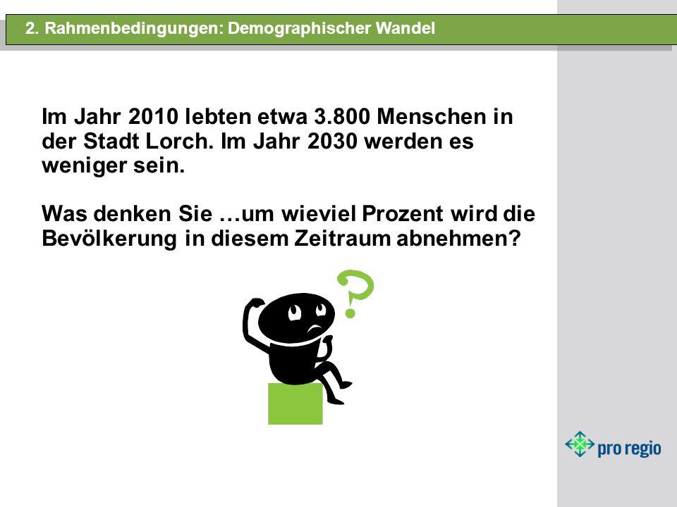 2. Rahmenbedingungen: Demographischer Wandel Im Jahr 2010 lebten etwa 3.800 Menschen in der Stadt Lorch. Im Jahr 2030 werden es weniger sein. Was denk